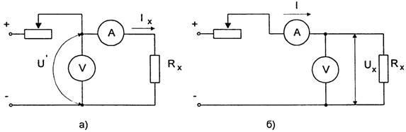 Схема измерения больших (а) и малых (б) сопротивлений методом амперметра-вольтметра
