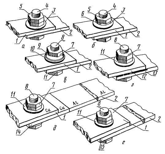 Разборные контактные соединения проводников с плоскими выводами со средствами стабилизации электрического сопротивления