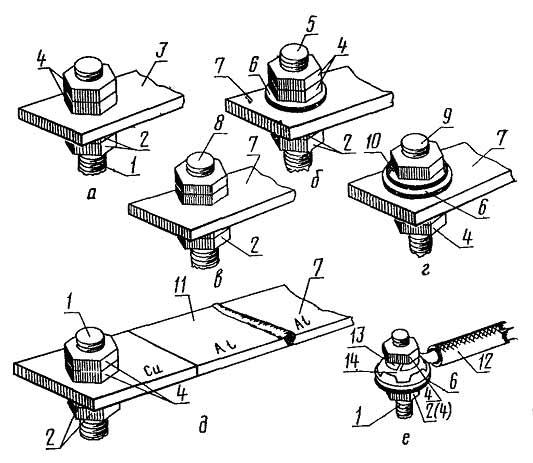 Разборные контактные соединения проводников со штыревыми выводами без средств и со средствами стабилизации электрического сопротивления